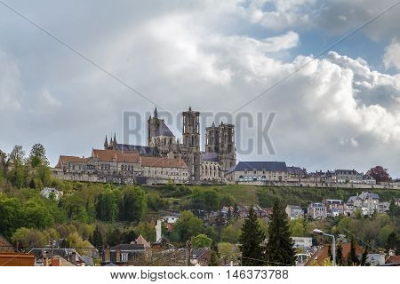 Laon Cathedral is one of the most important examples of the Gothic architecture of the 12th and 13th centuries located in Laon Picardy France. General view