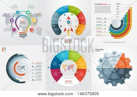 Set Of Six Infographic 6 Options, Steps, Parts, Processes Templates. Business Concept For Graphs, Ch