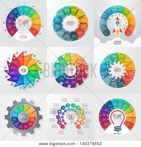 Set Of 9 Circle Infographic Templates With 12 Options, Steps, Parts, Processes. Business Concept For