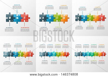 Set Of Vector Puzzle Style Timeline Infographic Templates With Of 3-8 Steps, Options, Parts, Process