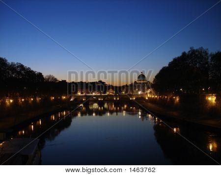 Tiber River & St. Peter'S Basilica