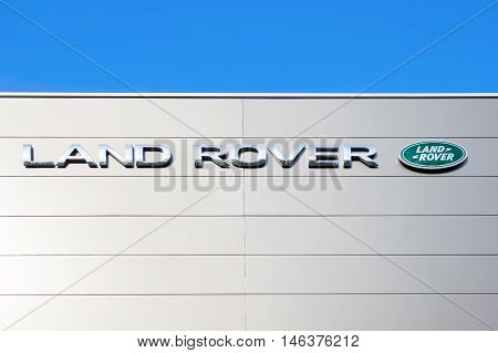 SAMARA RUSSIA - AUGUST 27 2016: Land Rover dealership sign. Land Rover is a brand of the British car manufacturer Jaguar Land Rover