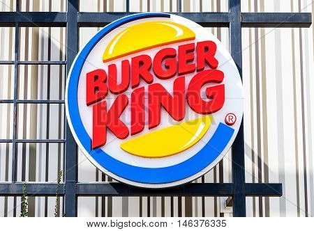 ST. PETERSBURG RUSSIA - JULY 31 2016: Burger King fastfood restuarant sign. Burger King is an American global chain of hamburger fast food restaurants United States