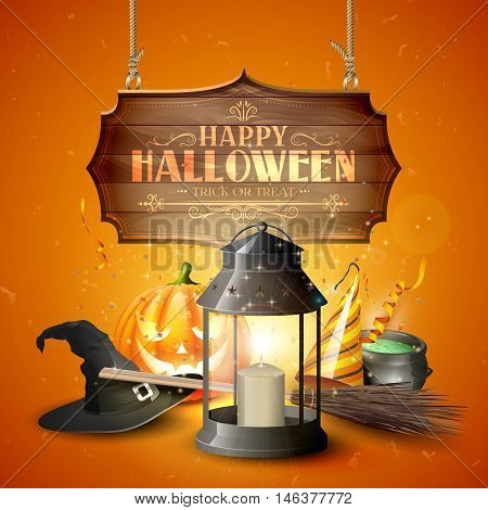 Happy Halloween greeting card with black lantern old hat pumpkin broom and wooden sign on orange background