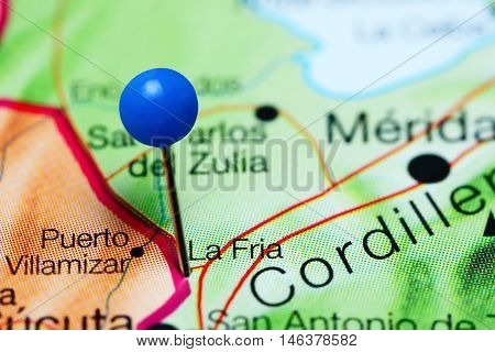 La Fria pinned on a map of Venezuela