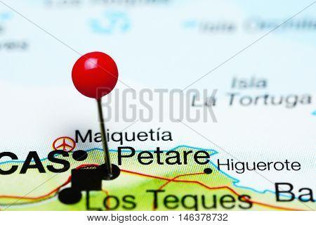 Petare pinned on a map of Venezuela