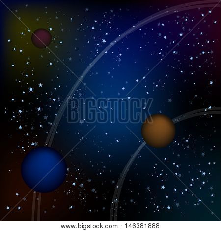Scifi Space Background For Ui Game Illustration of a beautiful comic starry space landscape with alien moons, asteroids and planet for sci-fi ui game . starry sky with rings of planets