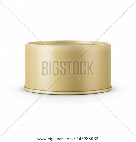 Yellow low-profile tin can on white background. Vector illustration. Packaging collection.