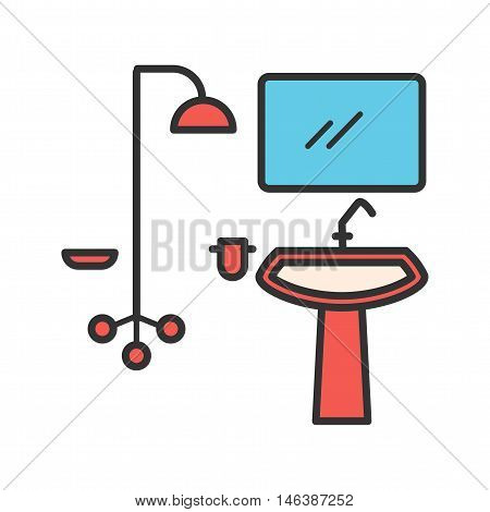 Washroom, tap, shower icon vector image. aCan also be used for home. Suitable for mobile apps, web apps and print media.
