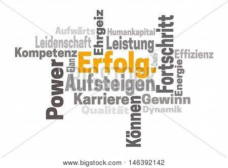 Erfolg Karriere Ehrgeiz (in German Success Career Ambition) Word Cloud Concept