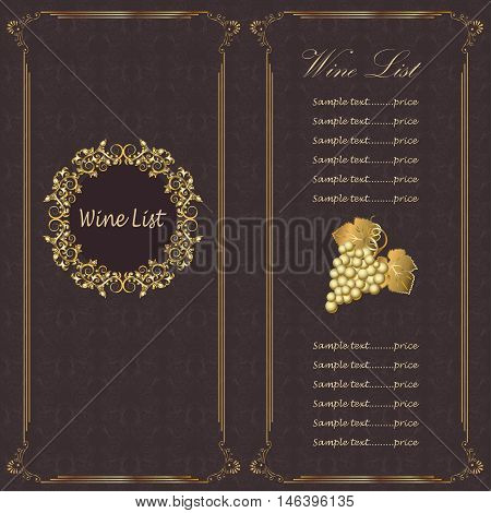 Elegant Wine menu with wine glass and a bunch of grapes.Template design for flyer card poster or banner