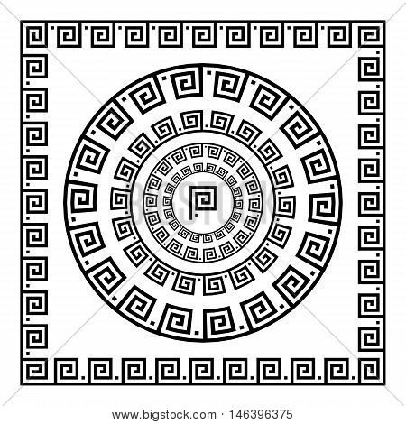 Greek Ornament. Circle Ornament Meander. Round Frame, Rosette Of Ancient Elements. Greek National An