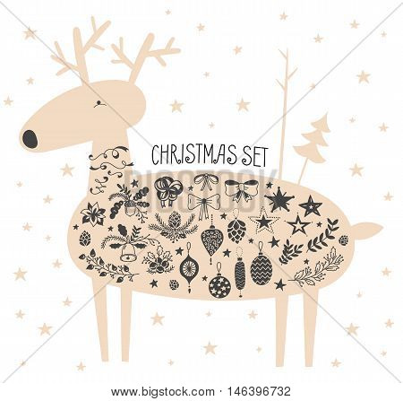 Vector illustration of hand drawn cute deer with stars and christmas icons set. Bells, sleigh bells, bows, stars, oak and fir branches, ribbons, pinecones, Christmas balls, acorns. White background.