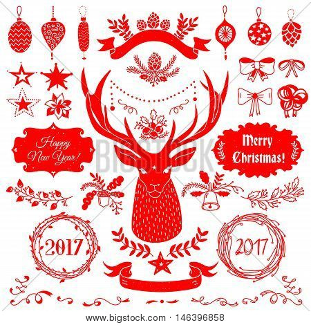 Vector Christmas and New Year set of badges, ribbons, ornaments, icons, frames, labels and design elements for greeting cards, gift tags, invitations. Red and white, vintage style