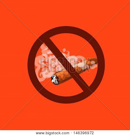 The topic of the Smoking ban in all places Cuban cigar in a cloud of smoke and a prohibition sign