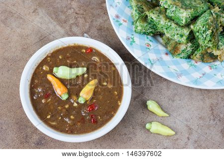 Thai food Shrimp paste sauce and acacia pennata omelette poster