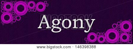 Agony text alphabets written over purple pink background.