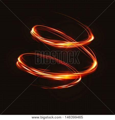 Fire blurry circles at motion . Vector swirl trail effect . Abstract luminous rings slow shutter speed effect . Light painting . Bokeh glitter round shapes . Abstract lights at motion exposure time