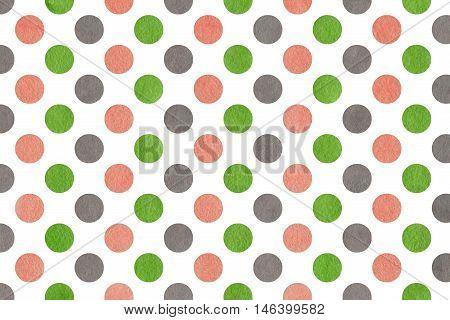 Watercolor Pink, Green And Grey Polka Dot Background.