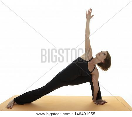 Yoga Asana young woman on white background