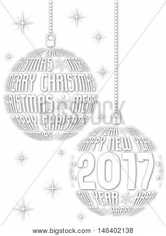 christmas and new year 2017 background on white background fine black and white contrast
