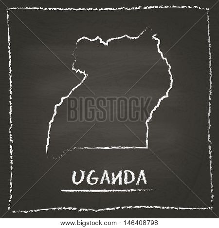 Uganda Outline Vector Map Hand Drawn With Chalk On A Blackboard. Chalkboard Scribble In Childish Sty