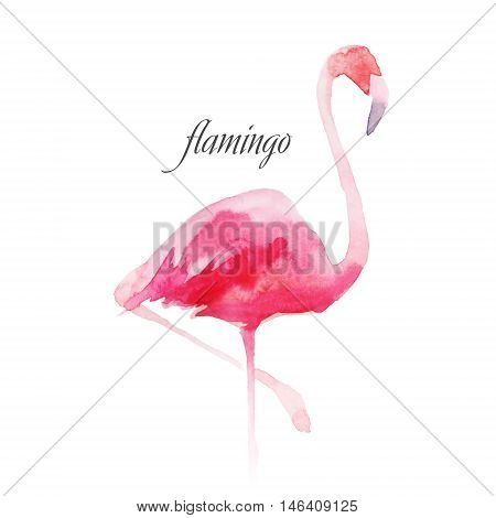 Watercolor pastel pink flamingos. Decorative figure. Suitable for printing on fabric.
