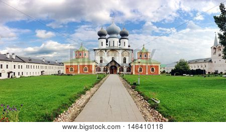 The famous Tikhvin Assumption Monastery, Leningrad region, Russia. The monastery was founded in 1560 and was built as a fortress. In Time of Troubles it was occupied by Polish and Swedish troops.