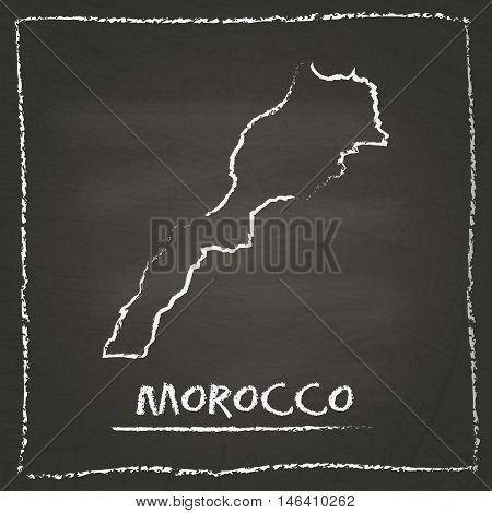 Morocco Outline Vector Map Hand Drawn With Chalk On A Blackboard. Chalkboard Scribble In Childish St