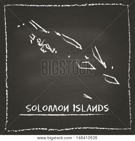 Solomon Islands Outline Vector Map Hand Drawn With Chalk On A Blackboard. Chalkboard Scribble In Chi