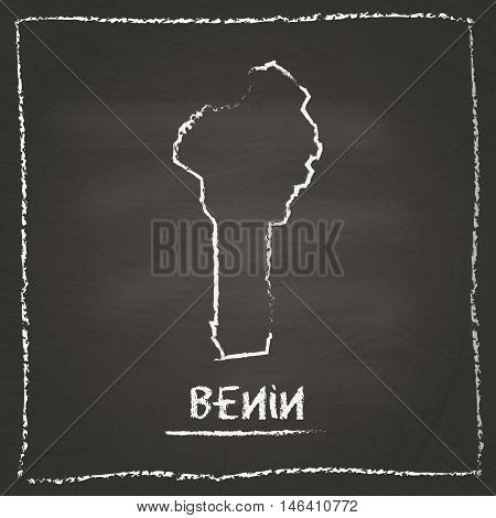 Benin Outline Vector Map Hand Drawn With Chalk On A Blackboard. Chalkboard Scribble In Childish Styl