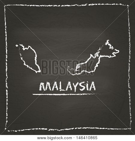 Malaysia Outline Vector Map Hand Drawn With Chalk On A Blackboard. Chalkboard Scribble In Childish S