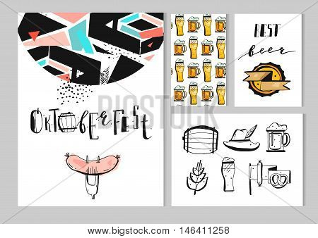 Hand drawn vector abstract textured octoberfest set collection with posterhandwritten letteringpattern and icons isolated on white background.