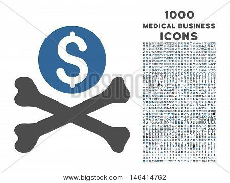 Mortal Debt vector bicolor icon with 1000 medical business icons. Set style is flat pictograms, cobalt and gray colors, white background.
