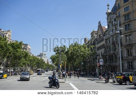 Barcelona, Spain. Mar 15, 2016: Architecture on the Passeig de Gracia in Barcelona, Spain. It's one of the most important shopping and business areas in the city