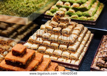Eastern Sweets In A Wide Range, Baklava, Turkish Delight