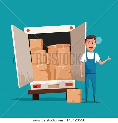 Bad worker in uniform. Cartoon vector illustration. Relocation. Move. Character design. Transport company. Box in hand. Cute loader. Boxes with things. Moving service. Van