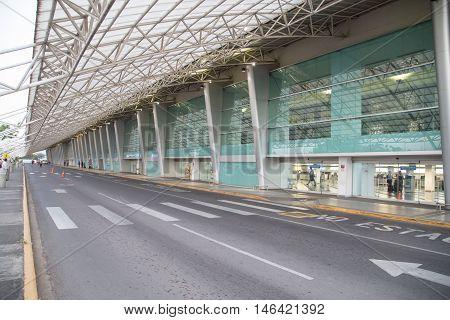Managua Nicaragua - February 17 2016: International Augusto Cesar Sandino Airport view from Managua Nicaragua