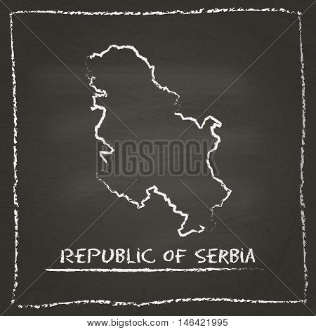 Serbia Outline Vector Map Hand Drawn With Chalk On A Blackboard. Chalkboard Scribble In Childish Sty