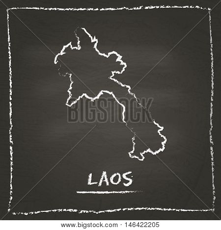 Lao People's Democratic Republic Outline Vector Map Hand Drawn With Chalk On A Blackboard. Chalkboar