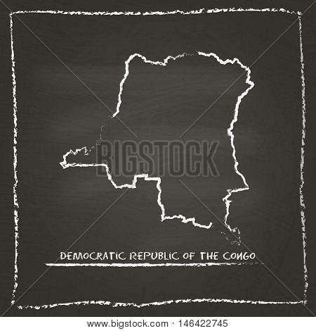 Congo, The Democratic Republic Of The Outline Vector Map Hand Drawn With Chalk On A Blackboard. Chal
