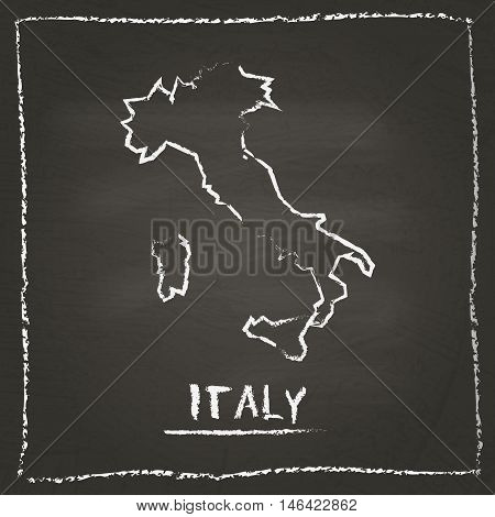 Italy Outline Vector Map Hand Drawn With Chalk On A Blackboard. Chalkboard Scribble In Childish Styl