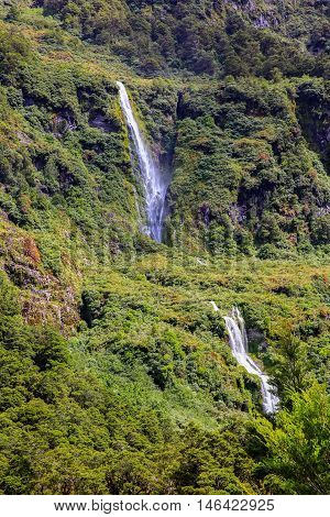 Waterfall Of Milford Sound Fiord. Fiordland National Park, New Zealand