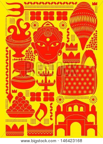 vector illustration of Happy Durga Puja festival background kitsch art India