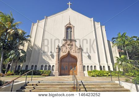 MIAMI - FLORIDA - OCTOBER 28 2012: First United Methodist Church of Coral Gables will find a faith community of open hearts, open doors, and open minds.