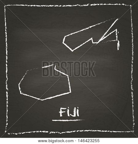 Fiji Outline Vector Map Hand Drawn With Chalk On A Blackboard. Chalkboard Scribble In Childish Style