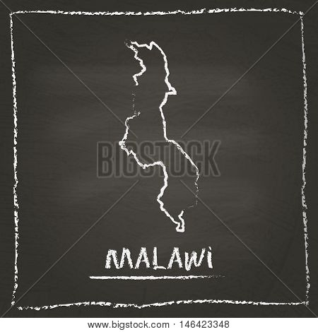 Malawi Outline Vector Map Hand Drawn With Chalk On A Blackboard. Chalkboard Scribble In Childish Sty