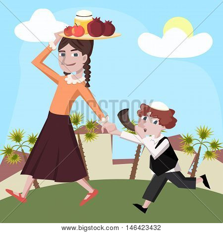 rosh hashanah greeting card boy and girl with holiday symbols cartoon vector illustration