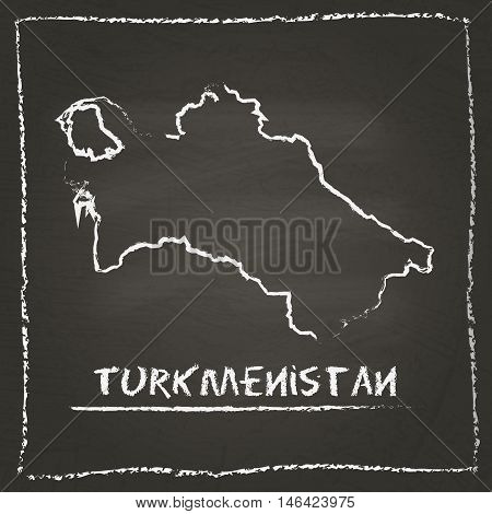 Turkmenistan Outline Vector Map Hand Drawn With Chalk On A Blackboard. Chalkboard Scribble In Childi