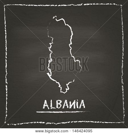 Albania Outline Vector Map Hand Drawn With Chalk On A Blackboard. Chalkboard Scribble In Childish St